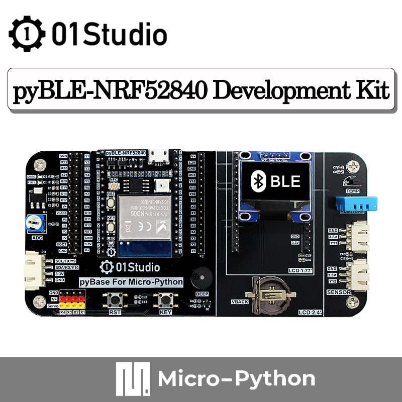 01Studio pyBLE - NRF52840 Bluetooth Module Development Demo Board  Low Power  BLE MicroPython circuitpython IOT Wireless недорого