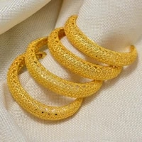 4pcs dubai arab wedding bracelet bangles for women girl indian gold braceletsbangles copper ball cuff bangles bridal jewelry