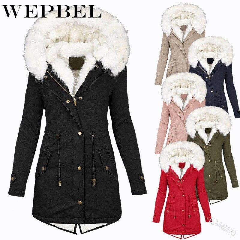 WEPBEL-معطف شتوي نسائي مع غطاء للرأس ، وبطانة من الفرو ، متوسط الطول ، مقاس كبير