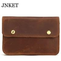 jnket new retro mens cow leather waist bag casual waist pack cellphone bag multifunctional waist pouch messenger bags
