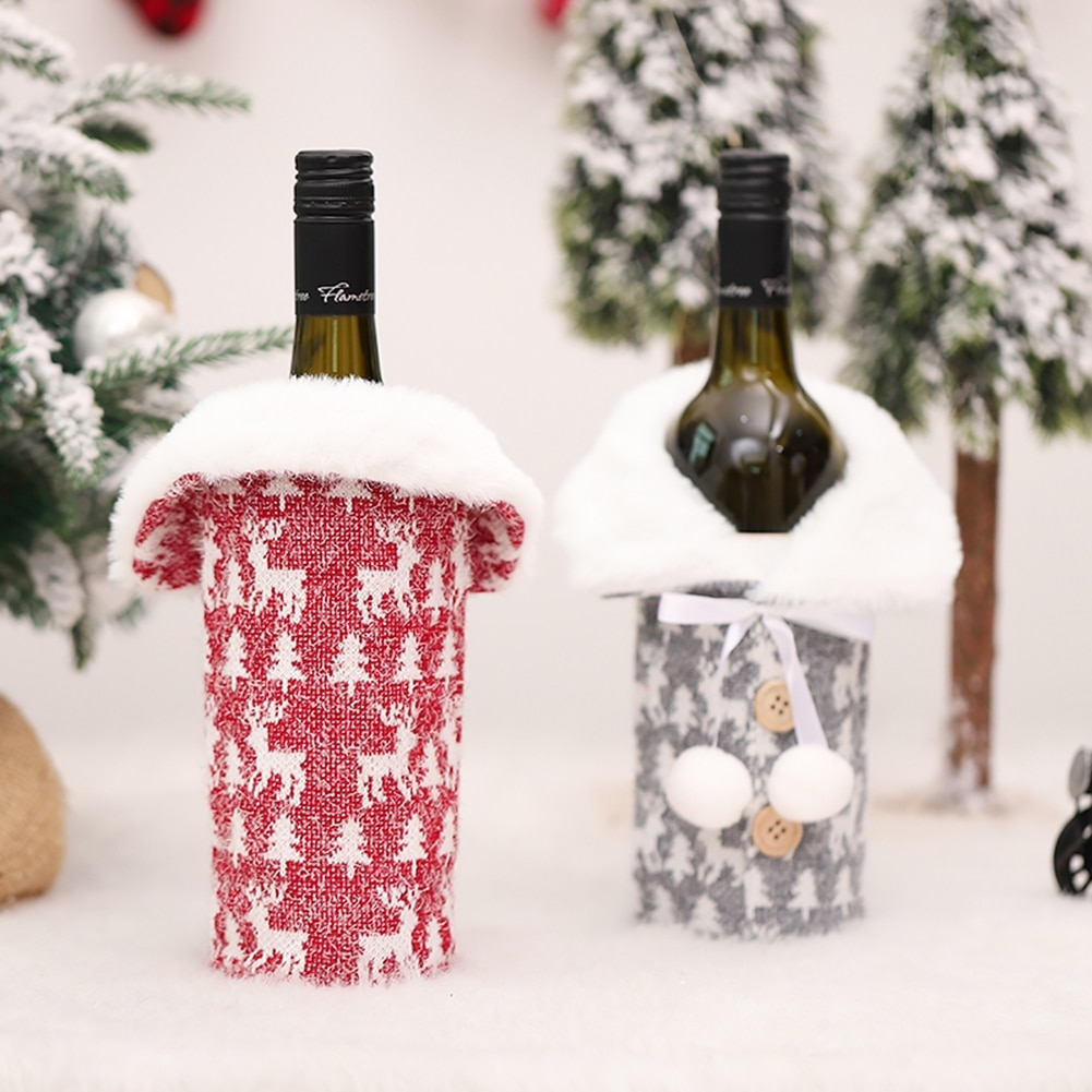 Christmas Red Wine Bottle Covers Bag Champagne Bottle Cover Wine Bags For Home Natal Navidad Tableto