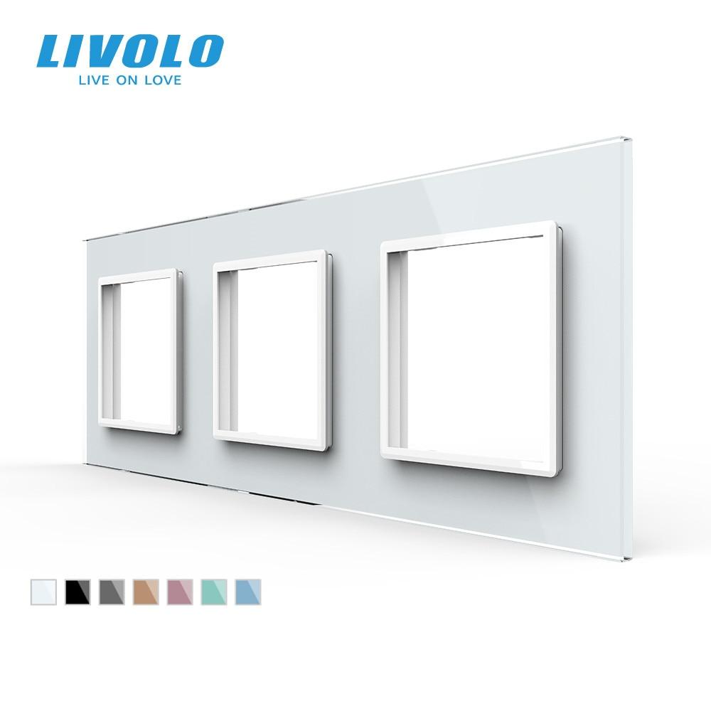 Livolo الفاخرة الأبيض اللؤلؤ والزجاج والكريستال ، الاتحاد الأوروبي القياسية ، لوحة زجاجية ثلاثية للتبديل الجدار ومأخذ ، C7-3SR-11 (4 ألوان)