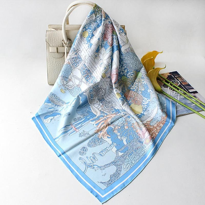"2021 New Luxury 100% Twill Silk Scarf Women Fashion Kerchief Bandana Sea World Print Shawl Hijab Square Stole 35""*35"""