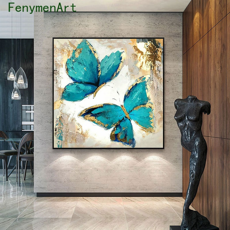 Abstract Gold Blue Butterfly Canvas Painting Nordic Flower Animal Poster Print Modern Wall Art Picture Living Room Home Decor
