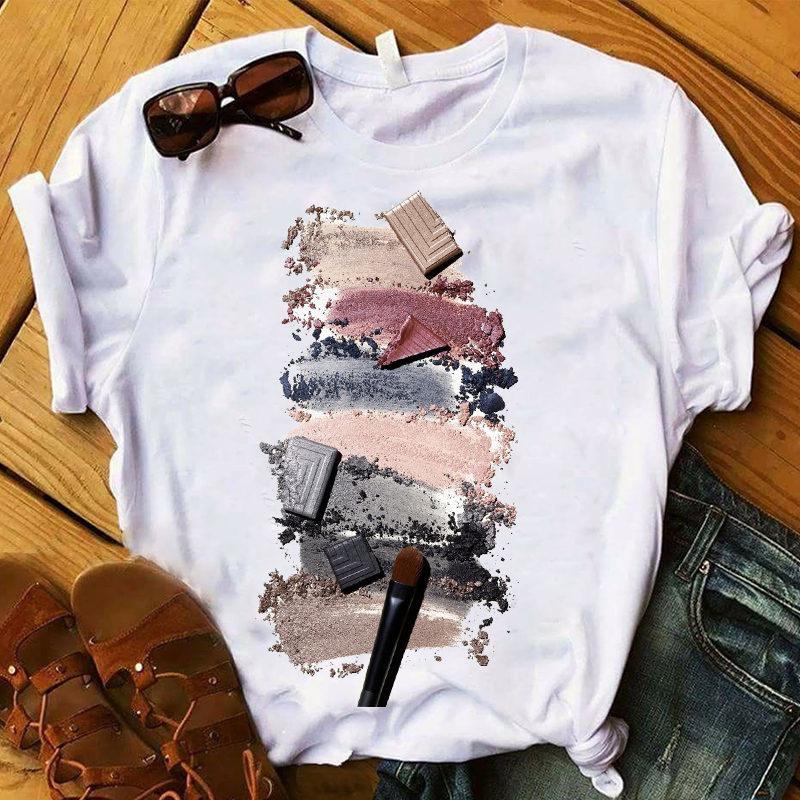 Women T Shirts Nail Paint Printed Short Sleeve Tee Shirt Femme Harajuku Fashion Graphic Tops Oversized T-shirt Female Clothes