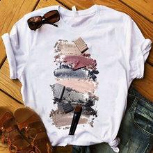 Women T Shirts Nail Paint Printed Short Sleeve Tee Shirt Femme Harajuku Fashion Graphic Tops Oversiz