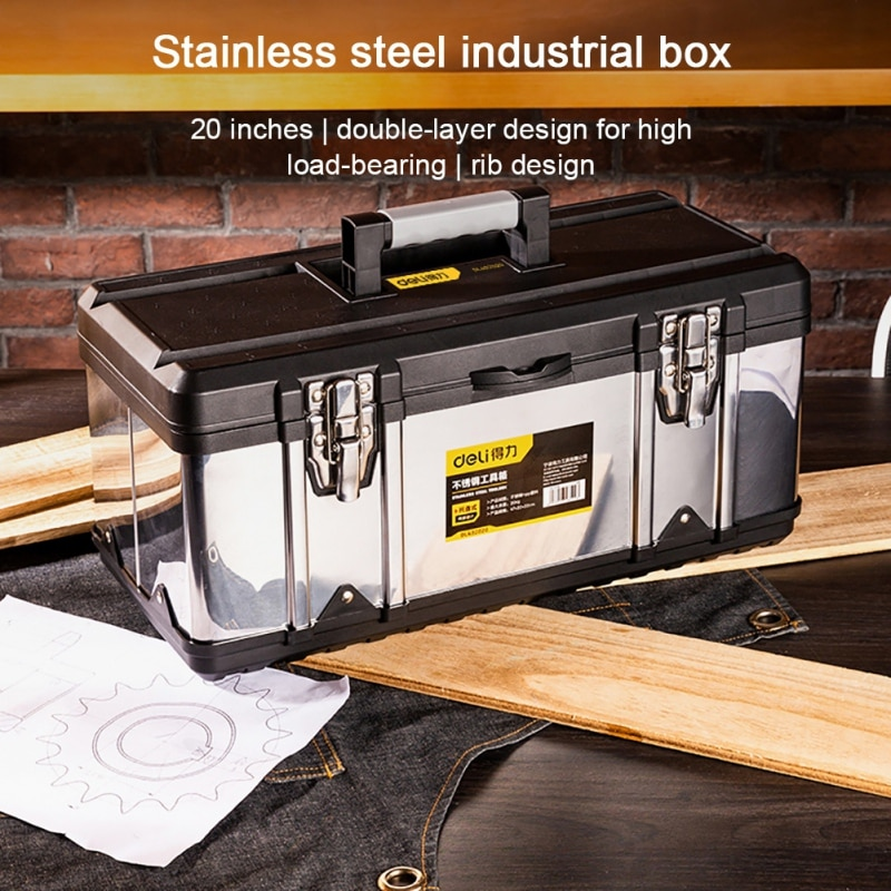 DeLi DL432020 Stainless Steel Tool Box With Handle Double Layer Hardware Portable Organizer   Official Genuine Authorization