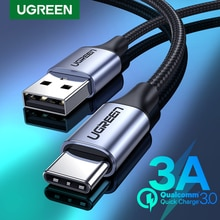 UGREEN USB סוג C כבל עבור Xiaomi סמסונג S21 S20 USB C כבל 3A מהיר טעינת סוג C טלפון מטען נתונים חוט כבל USB C כבל