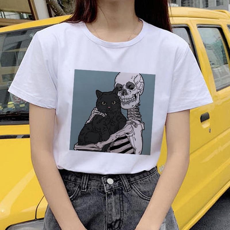 Funny scary skull and cute catwoman T shirt harajuku Ulzzang summer women's T-shirt kawaii fashion T-shirt white women Tee top