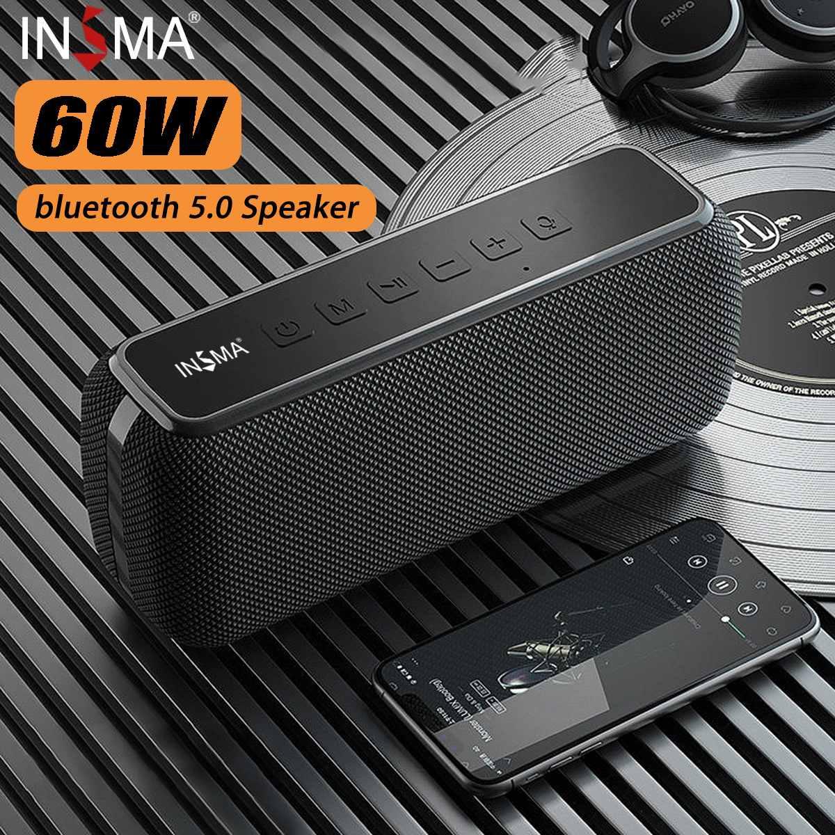 INSMA-سماعة بلوتوث لاسلكية 60 وات ، مكبر صوت ، IPX5 مقاوم للماء ، TWS ، وقت تشغيل 15 ساعة ، مساعد صوت ، مضخم صوت ، صوت جهير إضافي