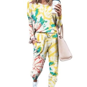 Women Casual Tie Dye Print Tracksuit Pyjama Two Piece Set Long Sleeve O Neck Top Pants Sweatshirt Suit Loose Soft Autumn Outfits