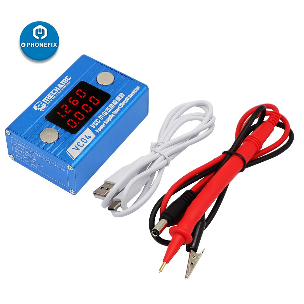 Ferramentas mecânicas vc04 curto assassino detector de circuito vcc fonte de alimentação placa de circuito placa de circuito placa de circuito do telefone placa de reparação de curto circuito caixa de ferramentas