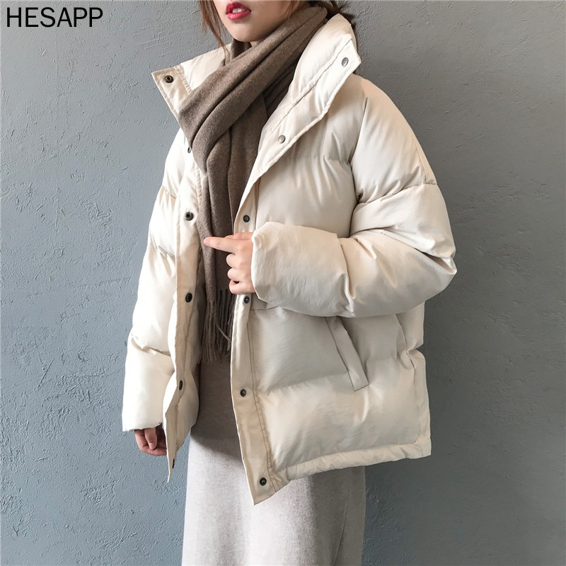 fashion solid women's winter down jacket stand collar short single-breasted coat preppy style parka ladies chic outwear female