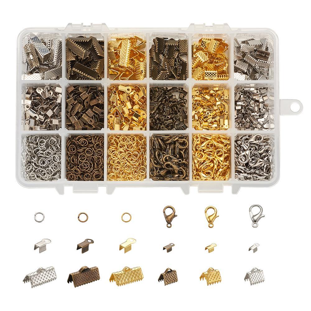 Kit de búsqueda de joyas con extremos de cuerda de hierro extremos de engarzado plegables extremos de cinta anillos de salto y joyas de aleación de Zinc garra de langosta encontrar