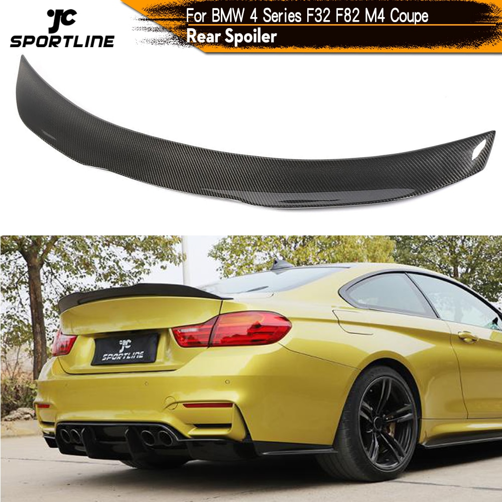 carbon fiber rear lip spoiler wings for ford mustang gt v8 v6 gt350r coupe 2015 2016 2017 rear trunk boot spoiler car styling Carbon Fiber For BMW 4 Series F32 F82 M4 Coupe 2Door 2014 - 2018 Rear Trunk Spoiler Boot Wing Lip