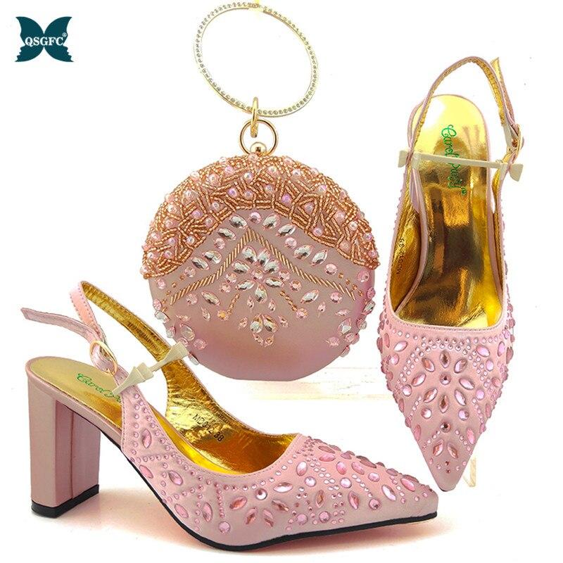 طقم حذاء وحقيبة زفاف نسائي ، جودة عالية ، تصميم إيطالي ، حذاء وحقيبة متناسقة ، لون وردي ، 2020