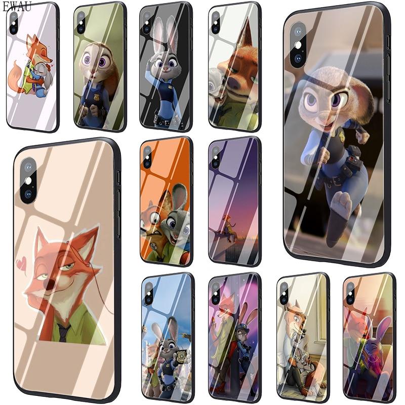 EWAU יפה Crazy Zootopia ארנב מזג זכוכית טלפון מקרה עבור iphone 5 5S SE 2020 6 6s 7 8 בתוספת X XR XS 11 pro מקסימום