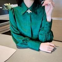 new autumn vintage green veins women shirt chiffon long puff sleeve bee button loose elegant female tops office ladies 2021