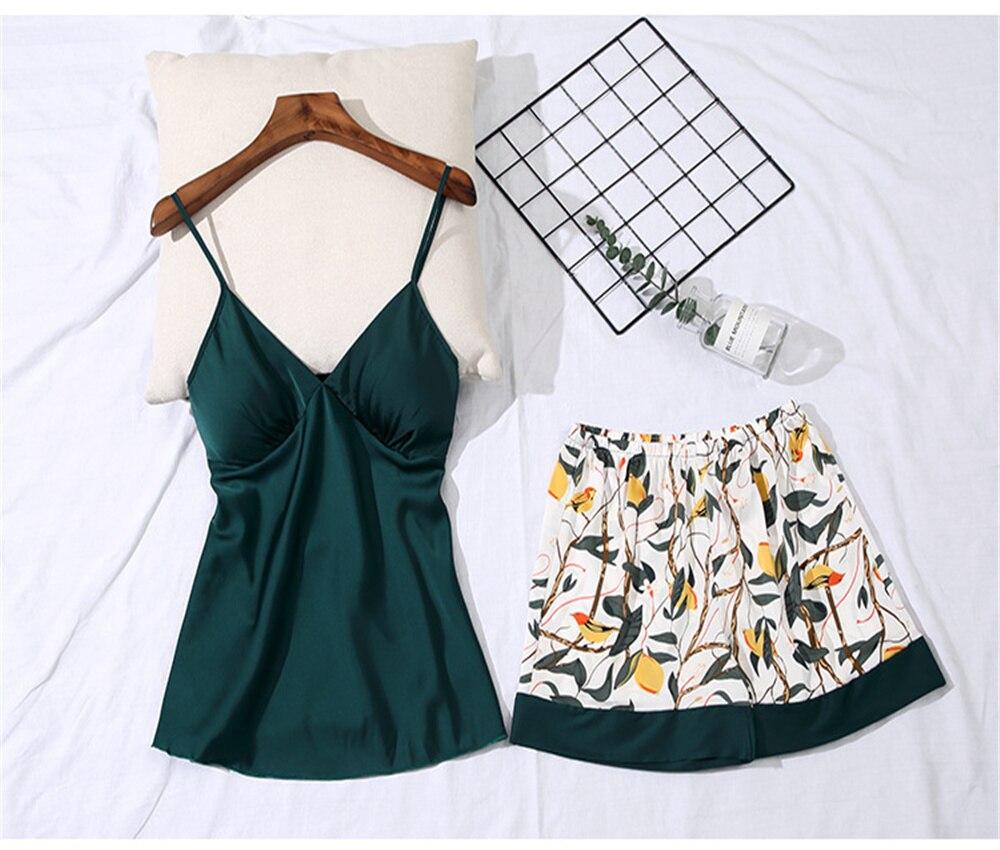DAILOU Sexy Print Sleepwear Suit Summer V Neck Sleeveless Sexy Pyjamas Women Two Piece Emulation Silk Pajamas Set with Chest Pad