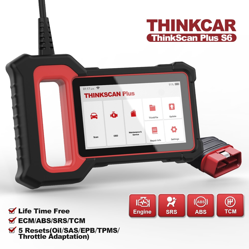 THINKCAR Thinkscan Plus S6 OBD2 Scanner ECM/TCM/ABS/SRS Systems 28 Resets Car Code Reader Diagnostic Tools Automotive scanner