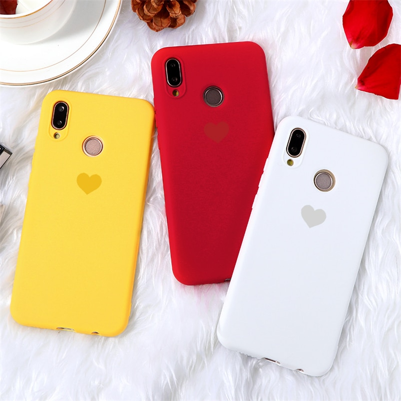 Candy Color Heart Matte Coque For Huawei P20 Lite P30 P8 P9 P10 Mate 30 10 20 Lite Pro 2017 P Smart 2019 Nova 3 3i 4 5 TPU Case