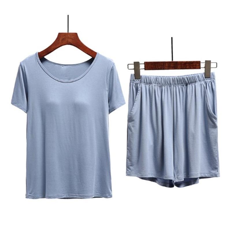 Summer modal cotton pajamas women chest pad short sleeve shorts set female home clothes sleepwear pants suit pijama mujer 3XL
