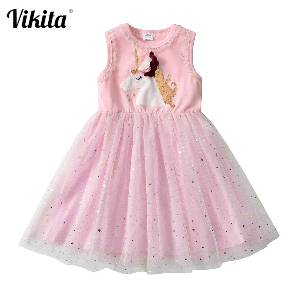 Kids Unicorn Dress for Girls Licorne Appliqued Tutu Vestidos Girl Princess Dresses Elegant Party Costumes Children Clothing