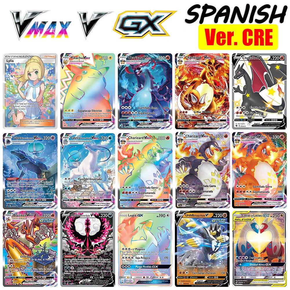 子供向けのポケモンカードゲームスペイン語のタグチームgx-vmaxエネルギーホログラフィックトランプ30-300