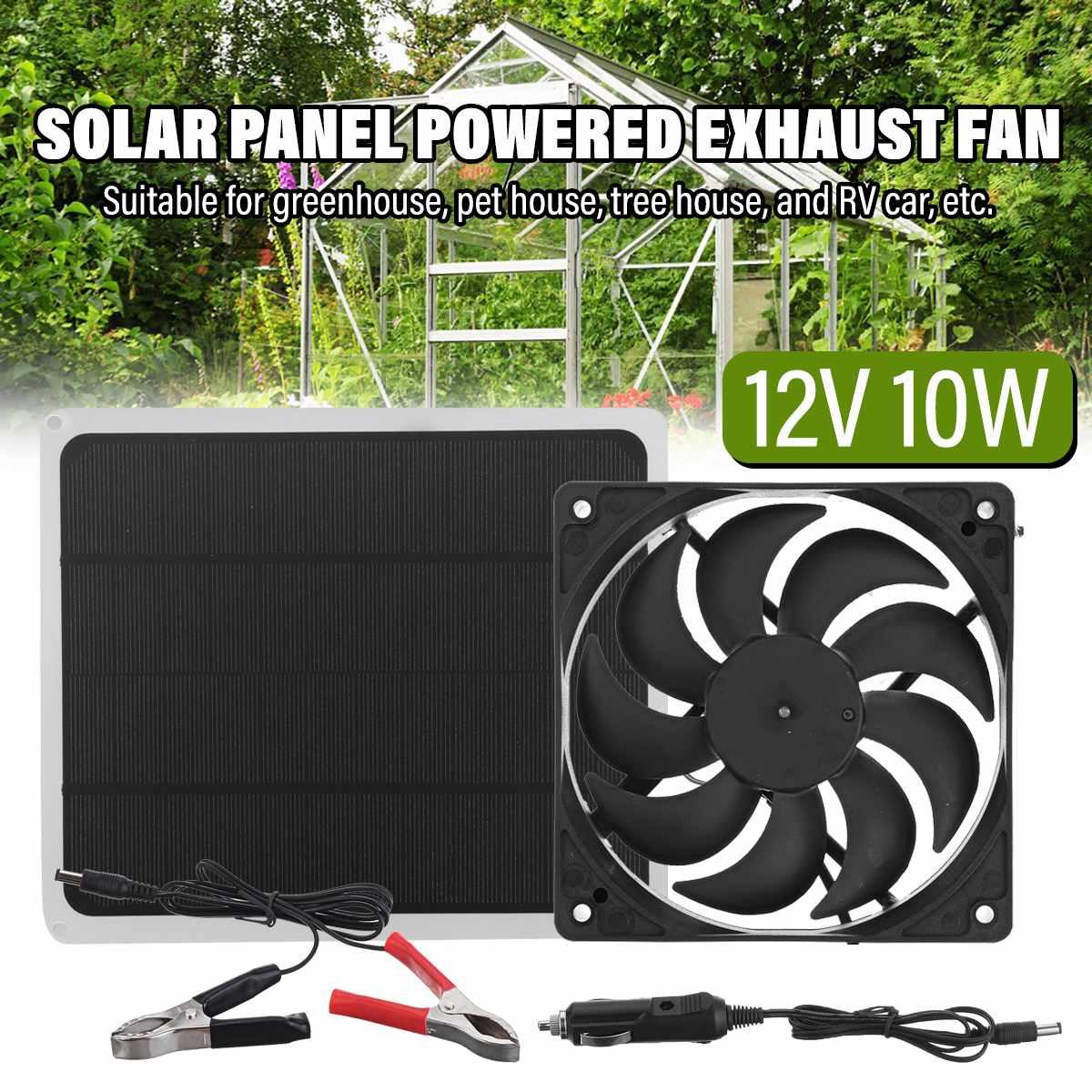 12 فولت 10 واط لوحة طاقة شمسية تعمل بالطاقة مروحة 6 بوصة صغيرة التهوية الشمسية مروحة العادم للكلاب بيت الدجاج الدفيئة RV مروحة سيارة شاحن