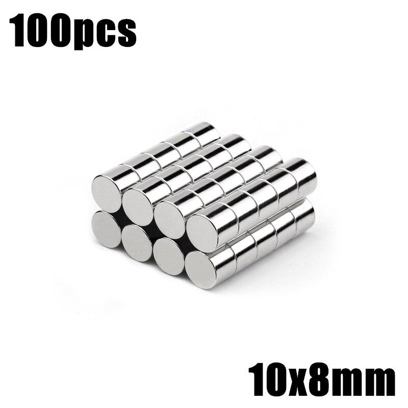 100 قطعة 10x8 مللي متر سوبر قوية قوي السائبة جولة الصغيرة ندفيب النيوديميوم مغناطيس القرص ضياء 10 مللي متر x 8 مللي متر N35 النادرة ندفيب المغناطيس