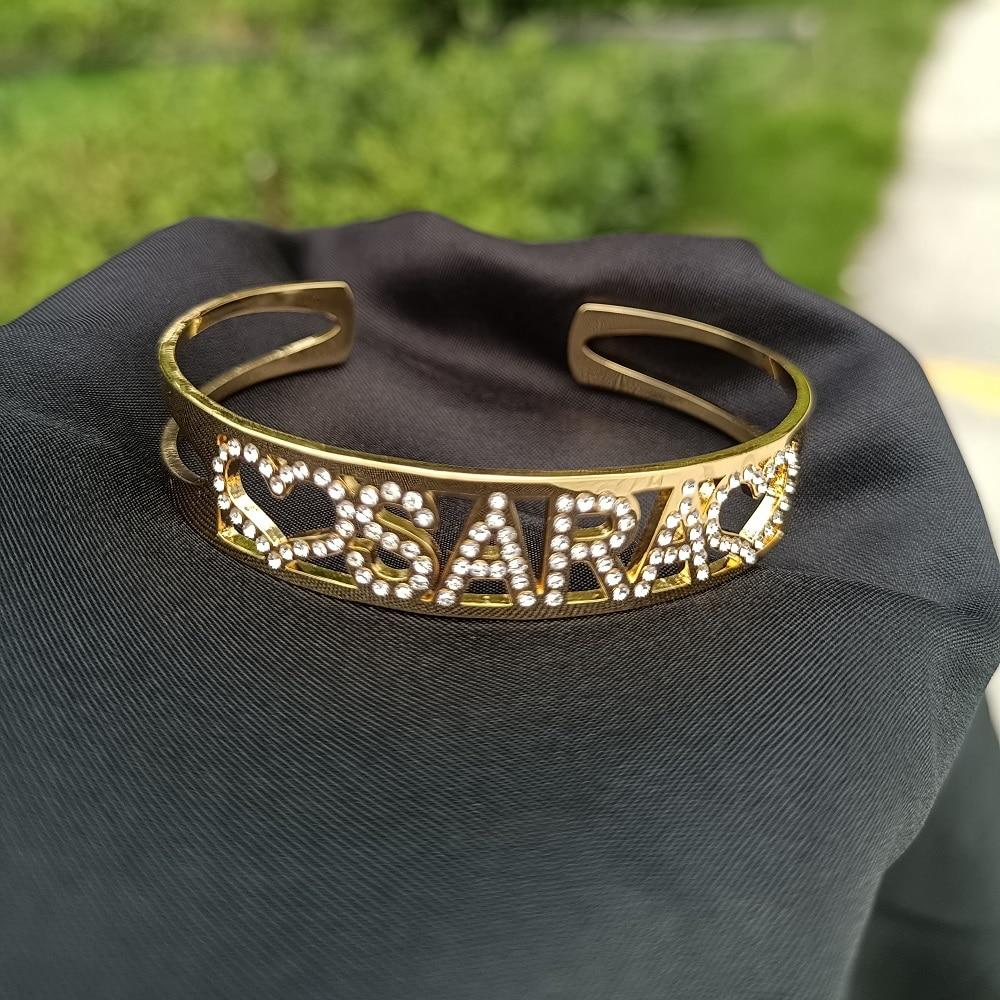 Bracelet manchette ouvert en acier inoxydable pour femmes, en Zircon, personnalisé, cadeau