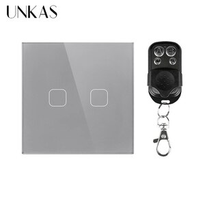 UNKAS AC 170~240V EU/UK Standard 2 Gang 1 Way Remote Switch, Wall Light Remote Touch Switch With Mini Remote Controller