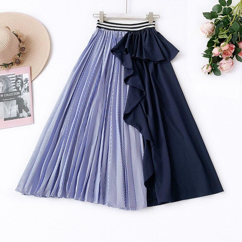 Europea de estilo plisado de anomalía falda Ffaldas Mujer Moda 2019 patrón de costura de una palabra larga faldas para Mujer