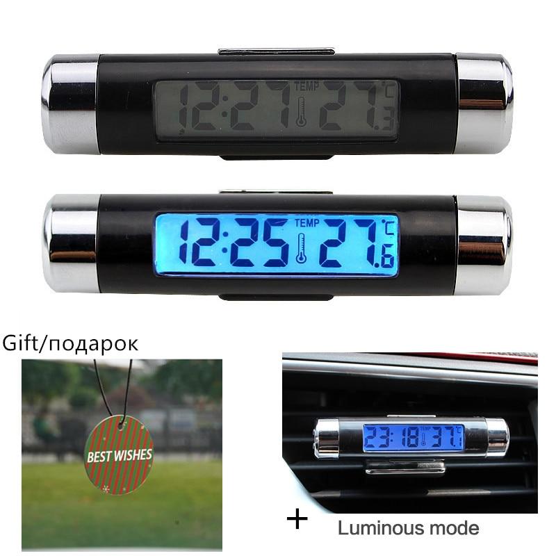 Автомобильные электронные часы, термометр со светодиодный Ной подсветкой