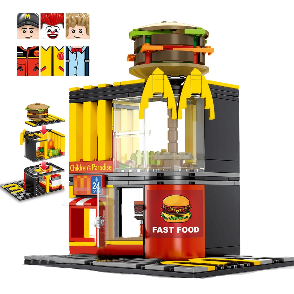 City Mini Street View Minifigs Restaurant apple store coffee shop construction blocks building brick toys for children gift 280 pcs mini city street view building blocks coffee shop hamburger store city diy bricks toys for children christmas gifts