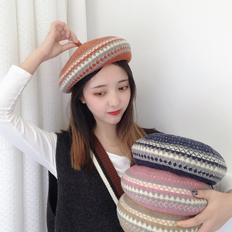 High Quality Wool Beret Women Winters Plaid Hats Wool Berets Women Classic Wool Felt Warm French Art