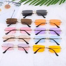 2020 Rectangle Rimless Sunglasses Women Square Vintage Sunglasses Brand Designer Men Retro Small Yel