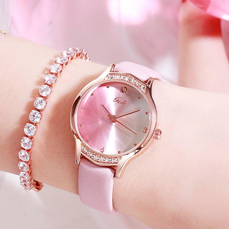 Trending Women Watches Casual Gradient Color Leather Ladies Watch GEDI Luxury Waterproof Women's Qua