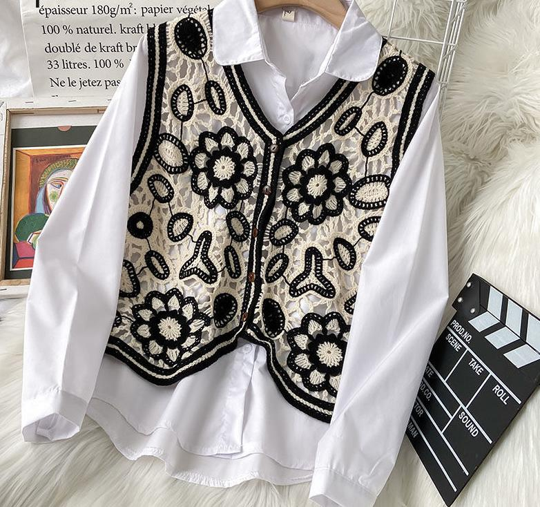 2021 Fashion Vintage Short Vest Hollow Out Crochet Floral Tops 2021 New Arrival Fall Clothes Chic Tank Coat Female