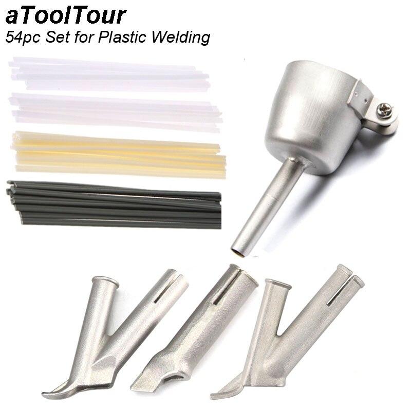 54pc Set Round Triangle Speed Nozzle Welding Plastic Hot Air Gun Kit For Welding Nozzle Tip Welding Vinyl Welder Welding Rods