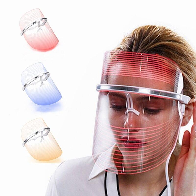 LED قناع مطياف الفوتون جهاز تجديد خلايا الجلد قابلة للشحن 3 ألوان جهاز العناية بالوجه الجمال العلاج معالجة بشعاع ليد