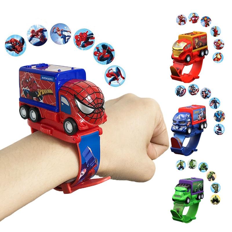 New Kids Toy Watch Spiderman Children Watch Hero Ironman Captain Hulk Cartoon Projection Toys Clock Girls Boys Birthday Gifts