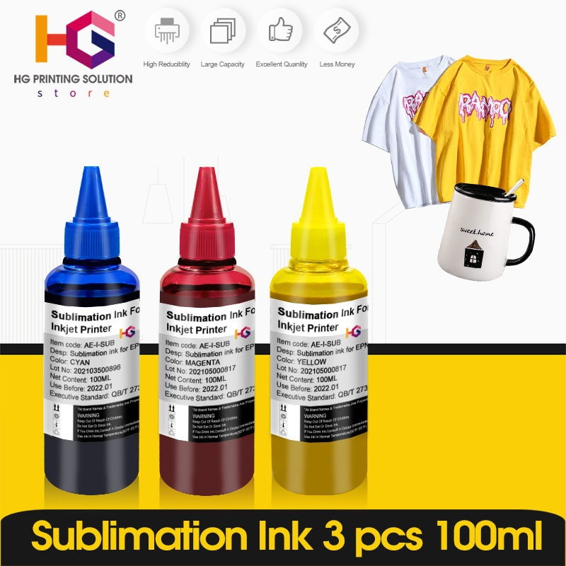 3 Color Universal Sublimation ink with Coating for Epson desktop printer heat transfer for T-shirt face mask cotton Mugs