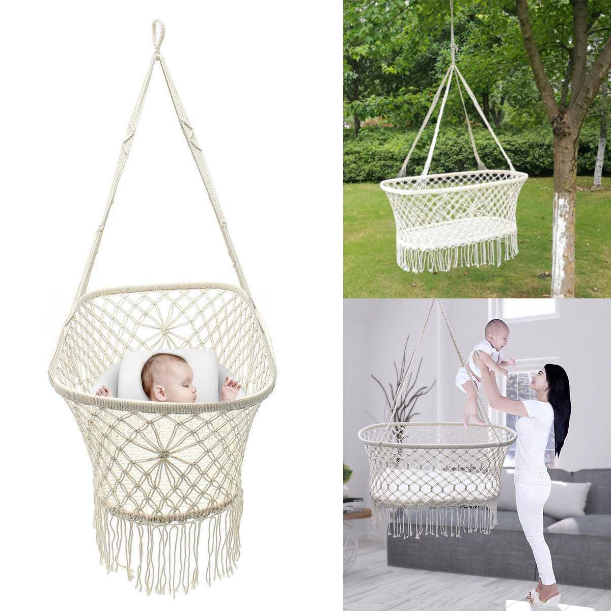 Weiß Baumwolle Baby Garten Hängen Hängematte Baby Krippen Baumwolle Gewebt Seil Schaukel Terrasse Stuhl Sitz Bettwäsche Baby Pflege 90*45*35cm