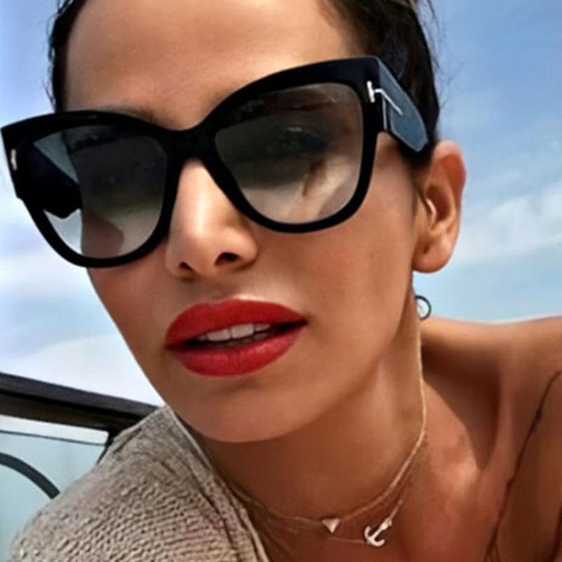 Очки солнцезащитные женские с градиентными линзами, брендовые дизайнерские большие солнечные очки «кошачий глаз», UV400