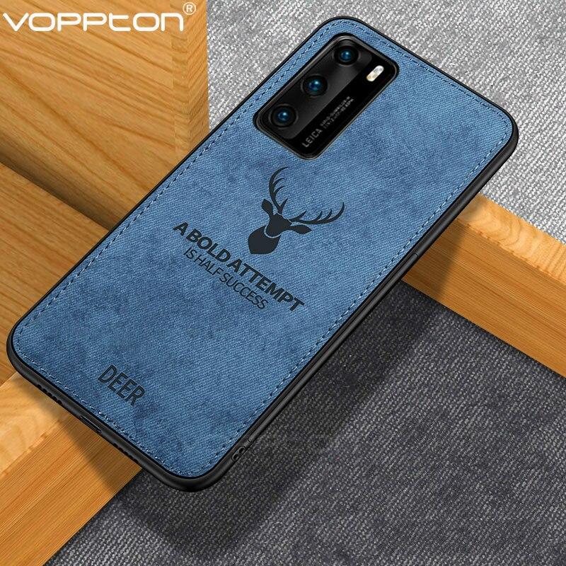 Funda de tela clásica para Huawei P40 Pro P40 Lite, funda protectora trasera con diseño de Animal y Marco de silicona para P40 Pro a prueba de golpes