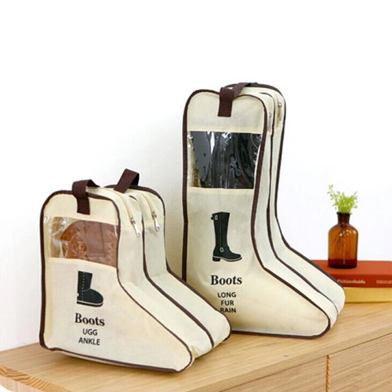 Bolsa de almacenamiento de 2 colores para zapatos, bolsa de almacenamiento para botas, bolsa con cremallera Visible para ventana, estuche de viaje portátil práctico