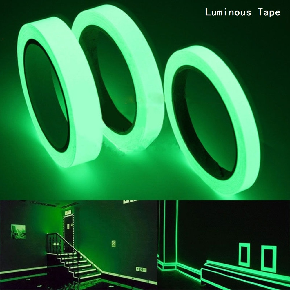 new arrival hot sale luminous photoluminescent tape glow in the dark stage home decoration 10 meters Luminous Tape 1cm*1m Self-adhesive Tape Night Vision Glow In Dark Safety Warning Security Stage Home Decoration Tapes