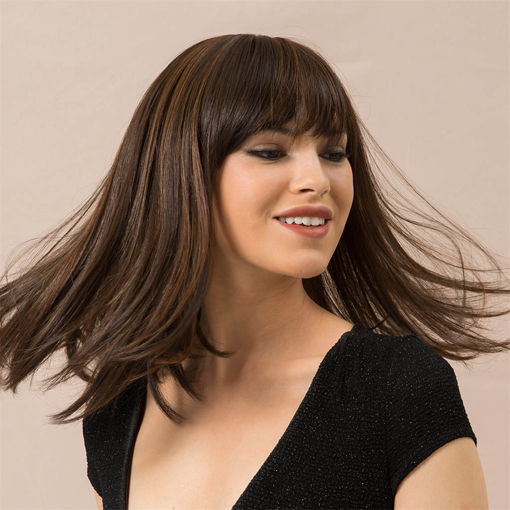 Natural Looking Human Hair Wigs Long Straight Costume Wigs for Women 14 Inch