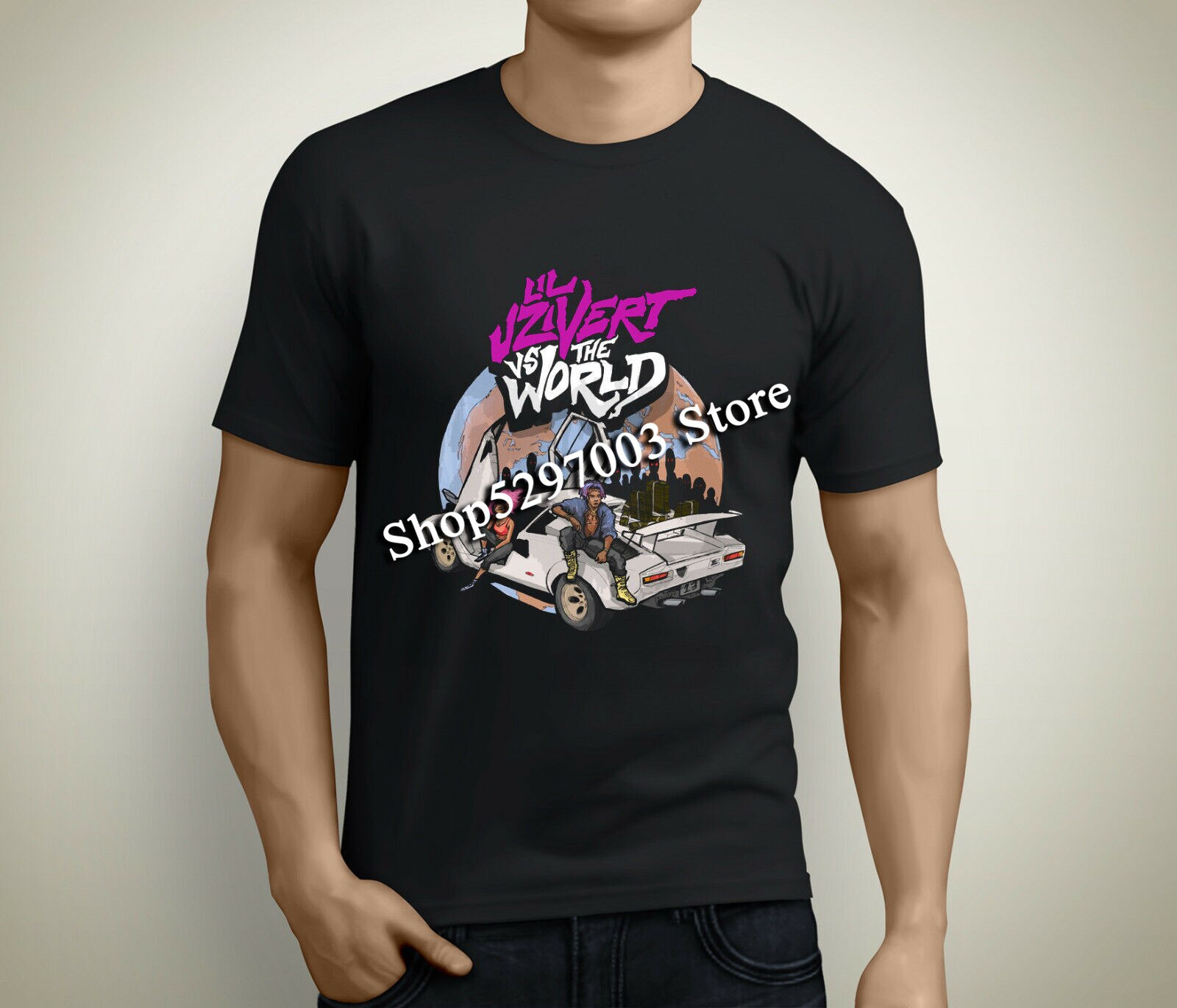 Nueva camiseta negra para hombre de manga corta Lil Uzi Vert Vs. World talla S a 3Xl camiseta de gimnasio